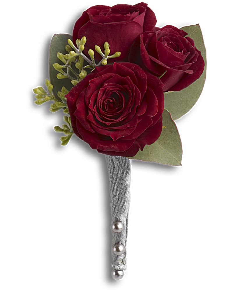 Boutonnière Rose Rouge Du Roi