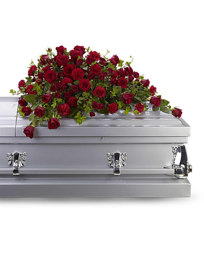 Gerbe De Cercueil Révérence Roses Rouges