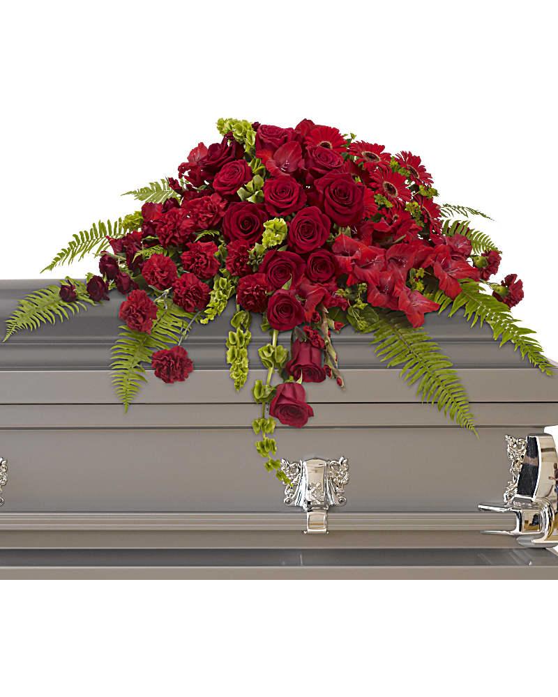 Gerbe De Cercueil Sanctuaire Roses Rouges