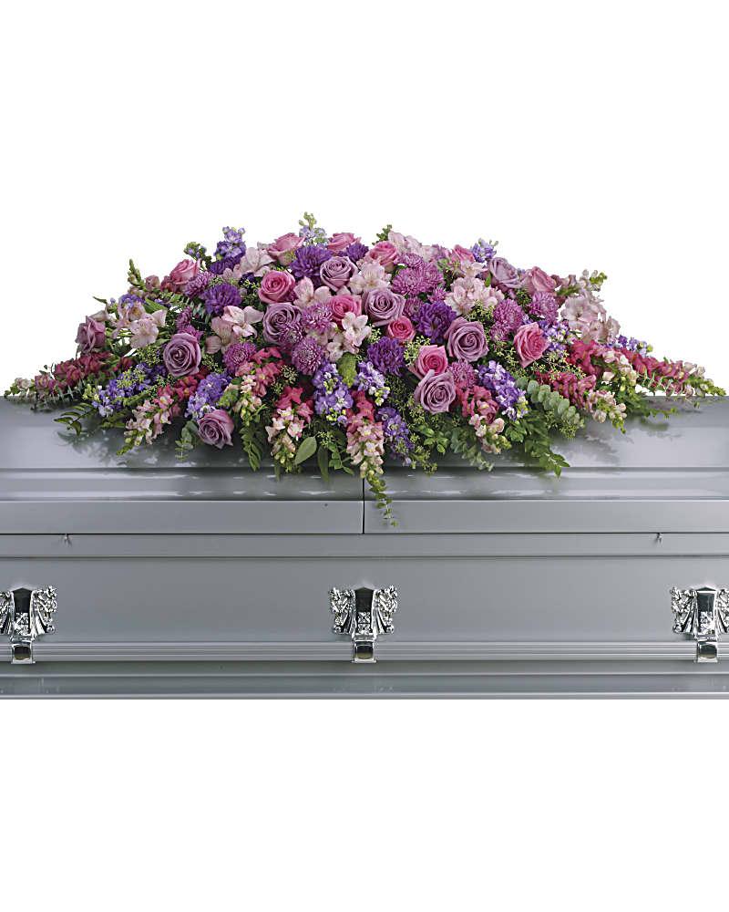Gerbe De Cercueil Hommage Mauve