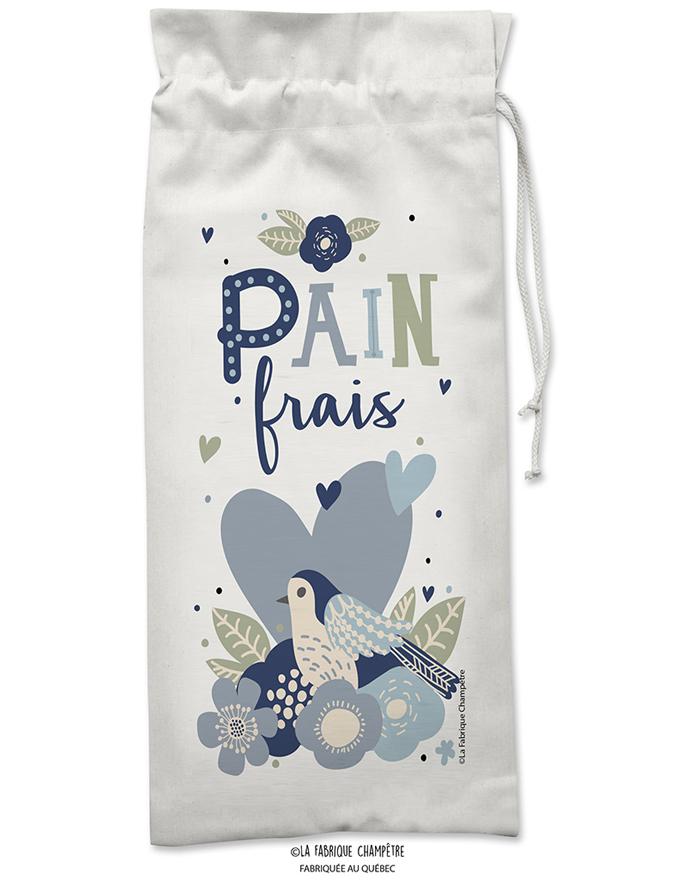Sac à Pain Coeur Bleu