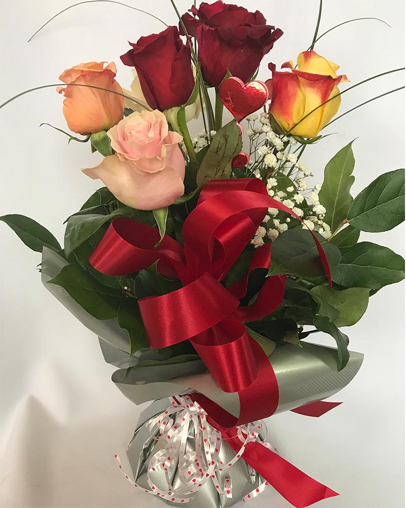 Bouquett'o 6 Roses – Couleurs Différentes